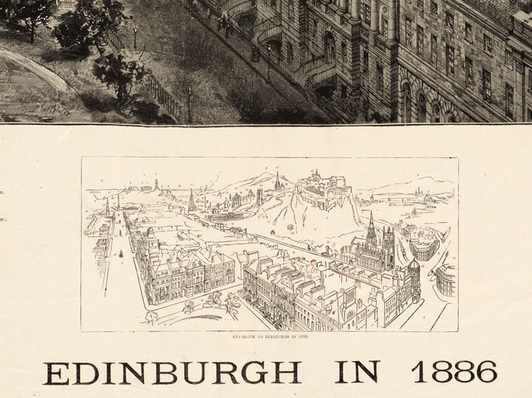 Marvellous Edinburgh Vintage Panoramic View in 1886 Edinbourg Scotland  - product image