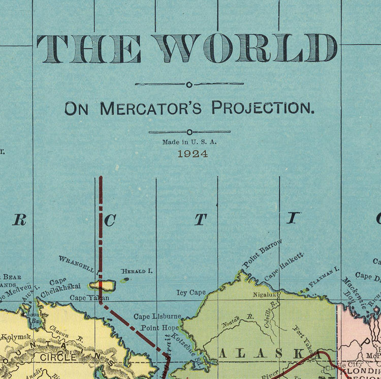 World Map Vintage Atlas 1924 Mercator projection - product images  of