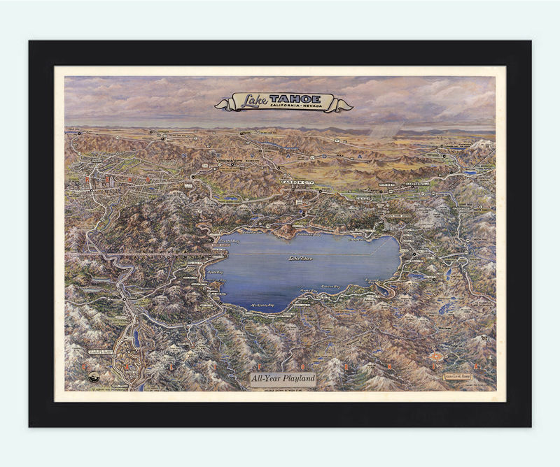 Vintage Map of Lake Tahoe California and Nevada  - product image