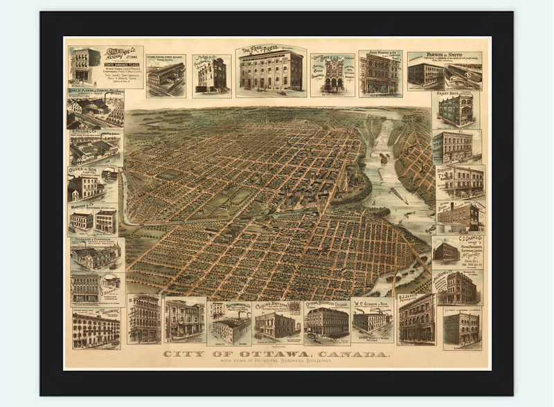 Old Map of Ottawa Canada 1895 Panoramic View - product image