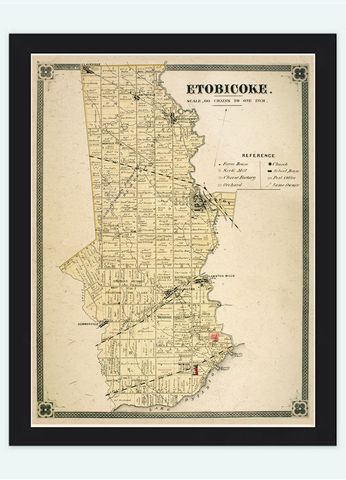 Old,Map,of,Etobiocoke,Toronto,Canada,1897,Vintage,etobiocoke, etobiocoke toronto, etobiocoke map, maps, large map , map reproductions