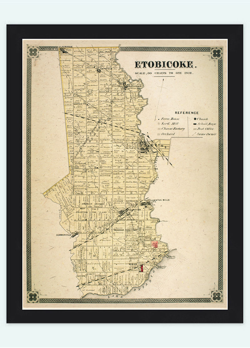 Old Map of Etobiocoke Toronto Canada 1897 Vintage Map   - product images  of