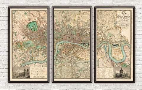 Marvellous,Old,London,Map,1830,England,london wall decor, london victorian map reproduction, old maps for sale, london map, map of london, london poster, Art,Reproduction,Open_Edition,city,vintage,illustration,gravure,vintage_map,city_plan,england,united_kingdom,london,old_map,engraving
