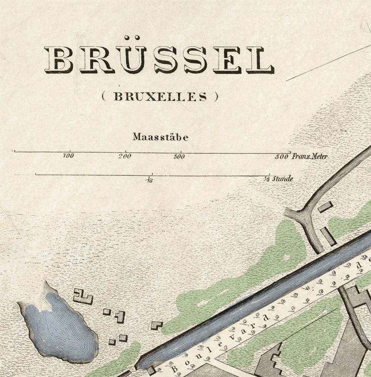 Old Vintage Map of Brussels Bruxelles, Belgium 1860 - product image