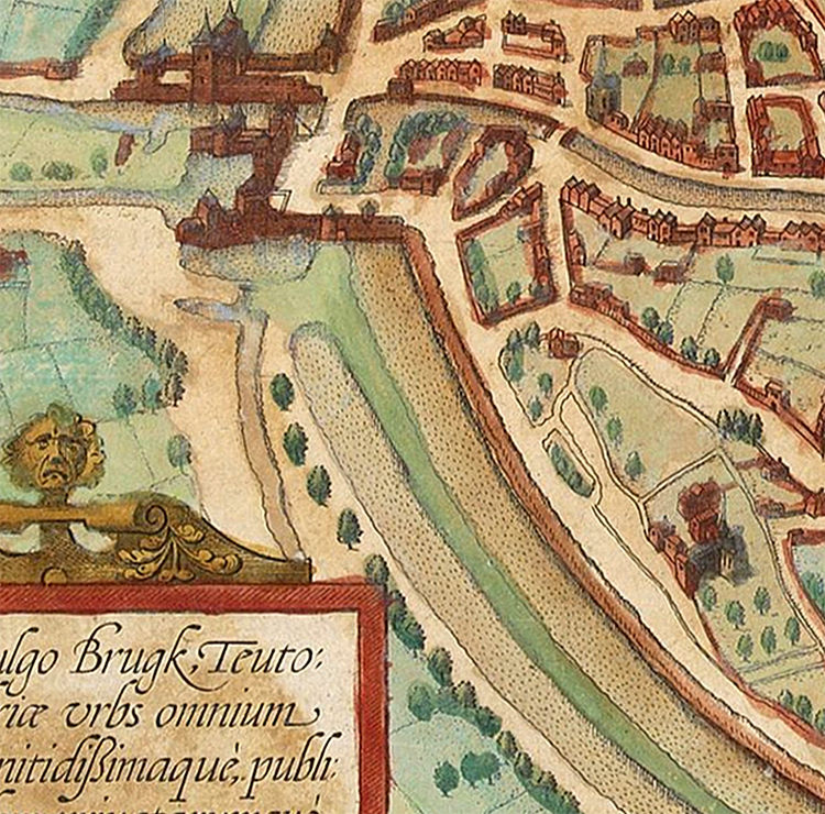 Old Map of Bruges Belgium Brugae Flandorum 1572 Vintage Map - product images  of