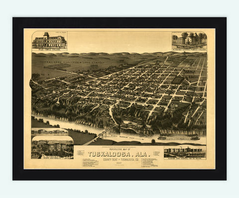 Panoramic,View,of,Tuscaloosa,Alabama,1887,tuscaloosa, alabama, map, tuscaloosa map, map of tuscaloosa, retro, old map, vintage, tuscaloosa panoramic view