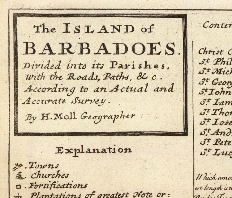 Old Map of Barbados Antilles 1736 Vintage Map - product images  of