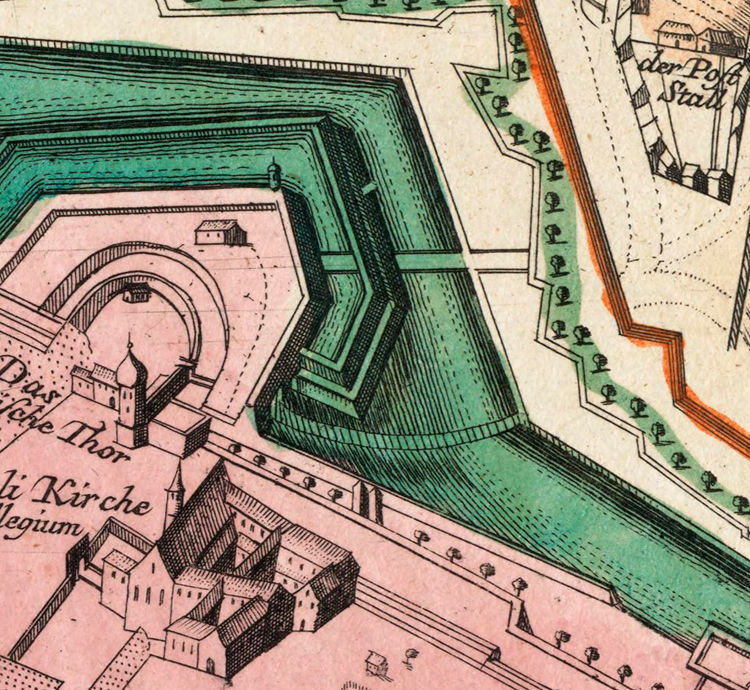 Old Map of Leipzig with gravures , Germany Deutshland 1735 - product image