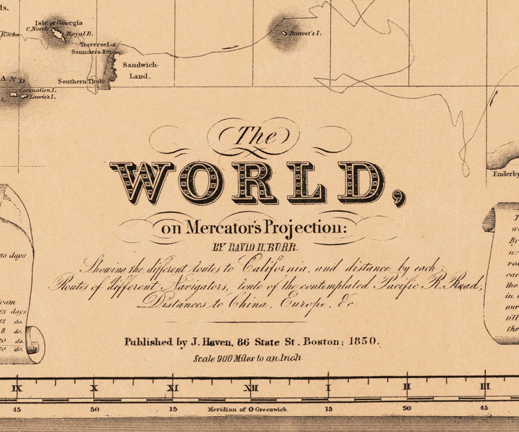 Old World Map Atlas Vintage World Map 1850 Mercator projection - product image