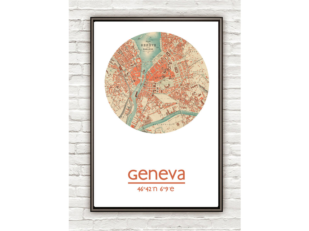 GENEVA - city poster  - city map poster print - product images  of