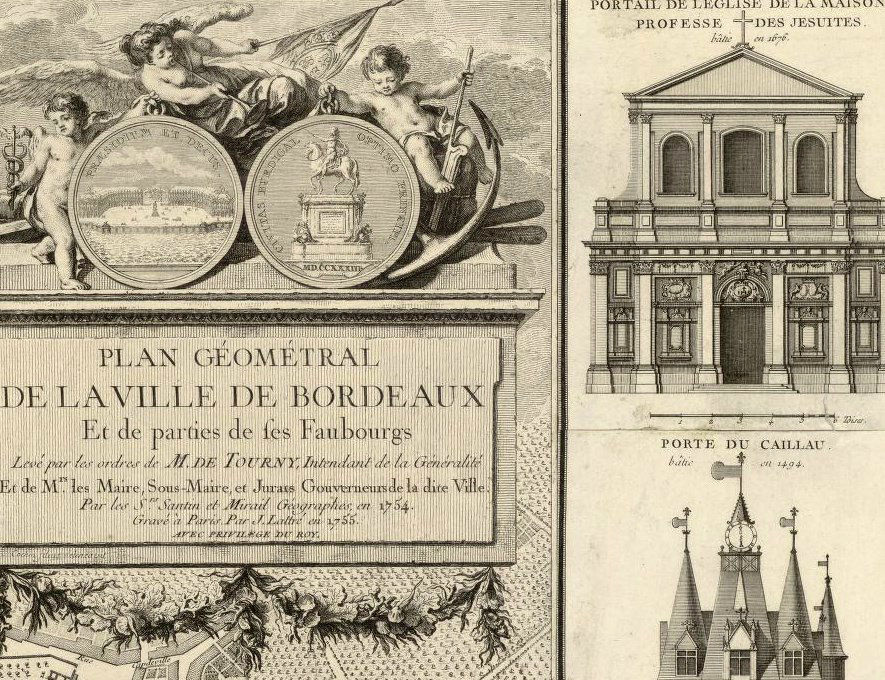 Old Map of Bordeaux with gravures 1755 City Plan France Vintage - product images  of