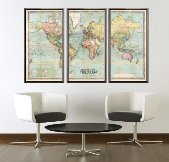 Beautiful World Map Vintage Atlas 1914 Mercator projection (3 pieces) - product images  of