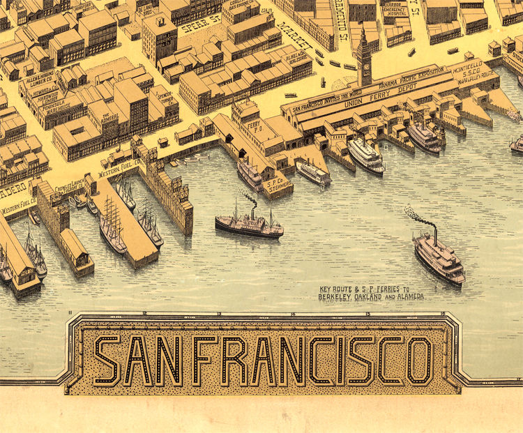 Old San Francisco Panoramic View 1912 Vintage Map - product images  of
