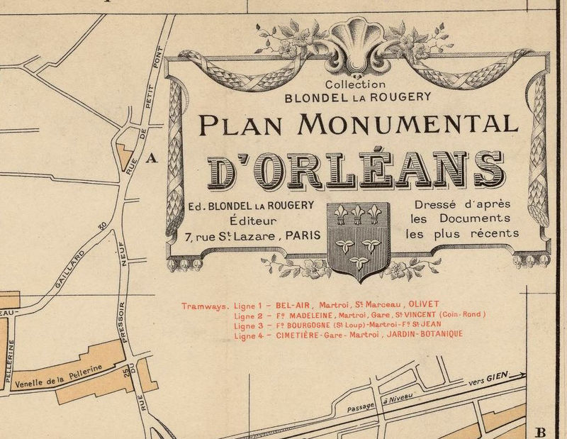 Old Map of Orleans 1912 France - product image
