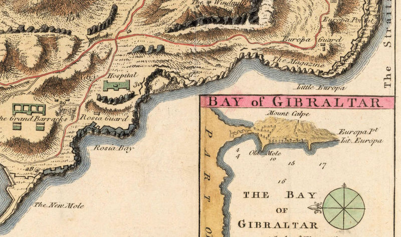 Old Map of Gibraltar Spain 1726 - product image