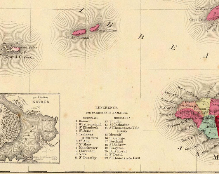 Old Map of Antilles Islands 1860 Jamaica Puerto Rico - product images  of