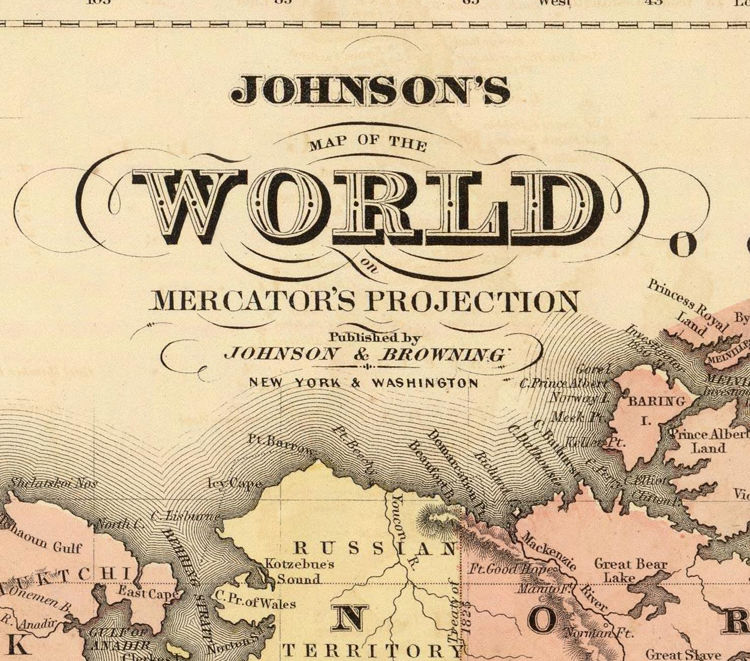 Vintage World Map 1860 Mercator projection - product images  of