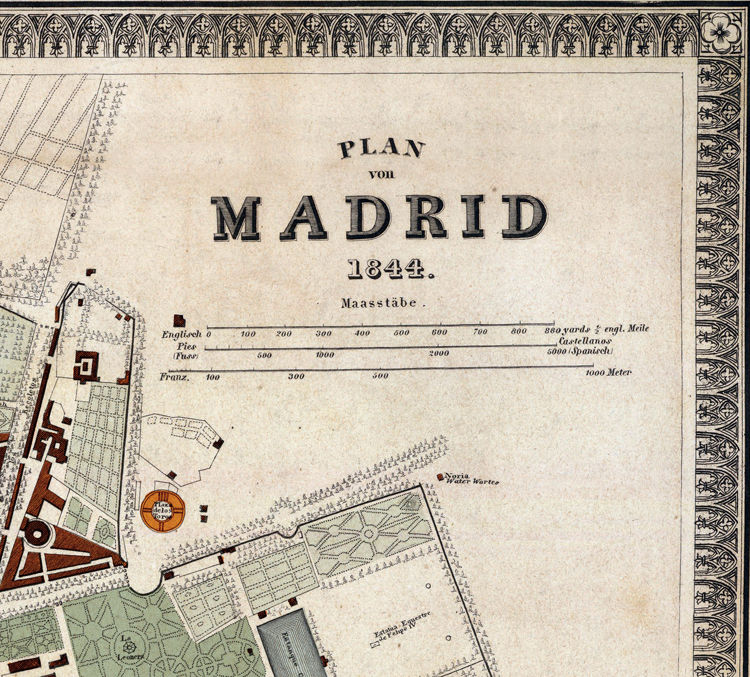 Beautiful Old Map of Madrid 1844 Spain Espana - product image