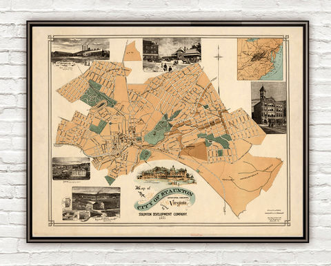 Old,Map,of,Staunton,Augusta,County,Virginia,1891,Vintage,staunton, staunton map, map of staunton, staunton poster, staunton va, staunton virginia
