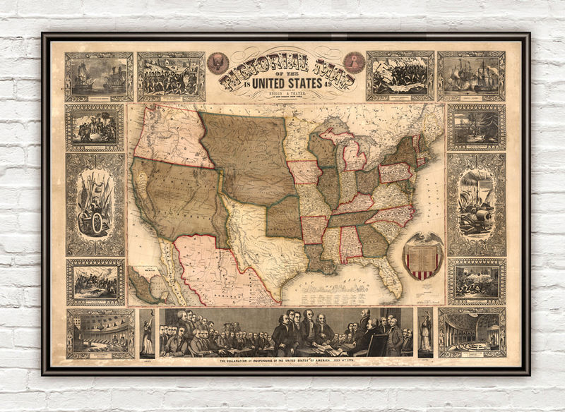 Old Map of United States of America 1849 USA map - product image