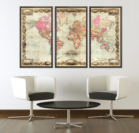 Beautiful,World,Map,Vintage,Atlas,1854,Mercator,projection,(3,pieces),Art,Reproduction,Open_Edition,World_map,old_map,antique,atlas,discoveries,explorations,vintage_poster,city_plan,earth_atlas,map_of_the_world,world_map_poster,old_world,vintage_world_map
