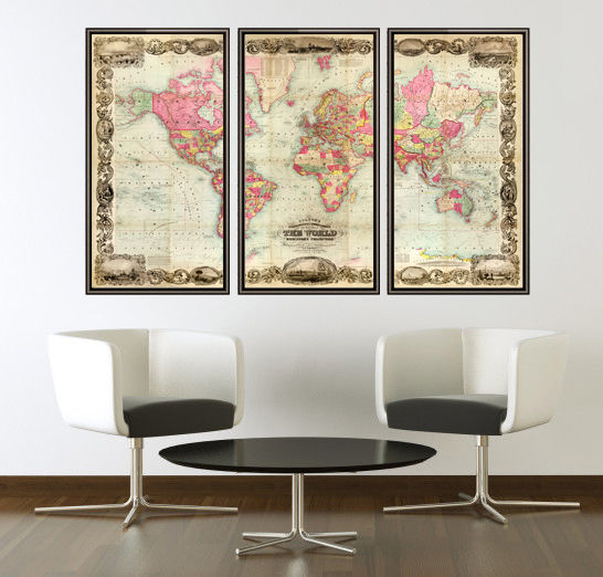 Beautiful World Map Vintage Atlas 1854 Mercator projection (3 pieces) - product images  of