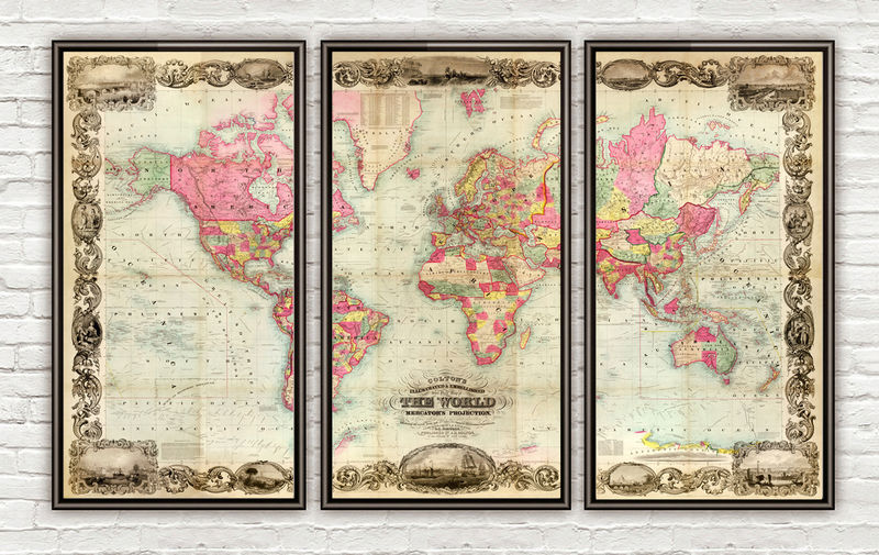 Beautiful World Map Vintage Atlas 1854 Mercator projection (3 pieces) - product image