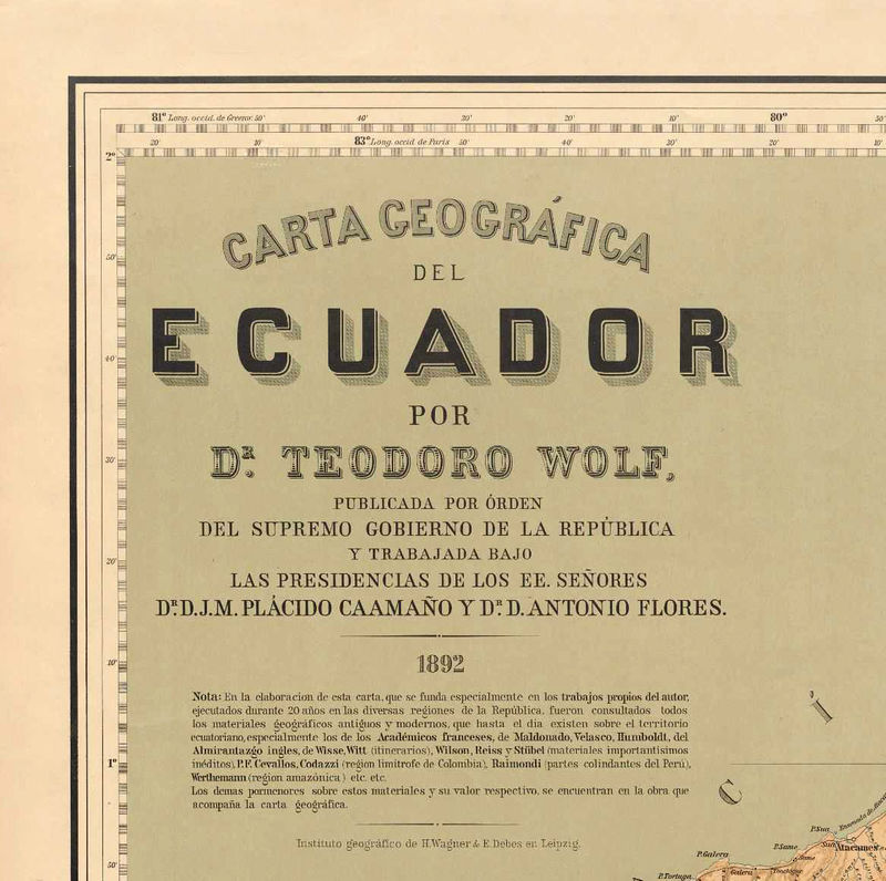 Old Map of Ecuador 1892 Equator Republic - product image