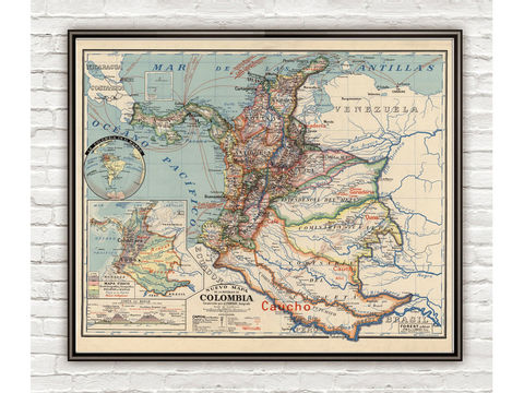 Old,Map,of,Colombia,1920,Vintage,colombia, colombia map, map of colombia, colombia poster, vintage decor, bogota