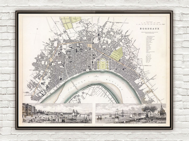 Old Map of Bordeaux with gravures, City Plan France 1832 Vintage - product image