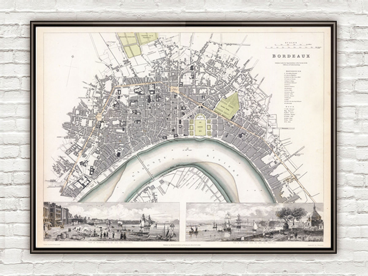 Old Map of Bordeaux with gravures, City Plan France 1832 Vintage - product images  of