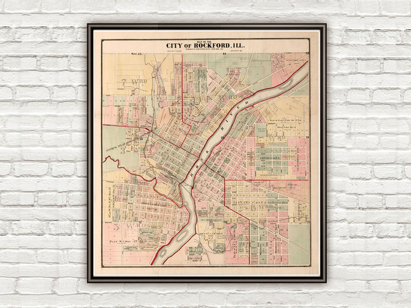 Old vintage map of Rockford Illinois 1886, United States of America - product image