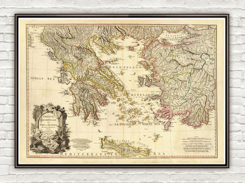 Old,Map,of,Greece,1791,Vintage,map,athens, map of greece, athens greece, greece map, greek art, greece poster, antique print, antique map