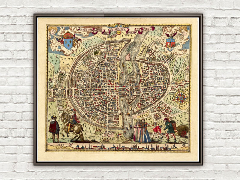 Old Map of Paris 1576 - product image