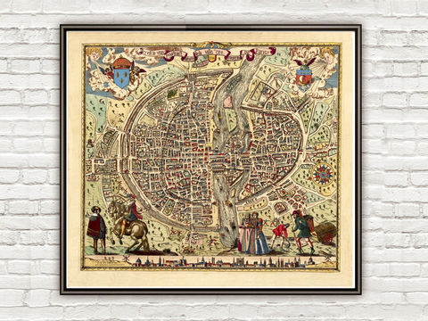 Old,Map,of,Paris,1576,Art,Reproduction,Illustration,paris,vintage,plan,Braun,Hogenberg,France,medieval,engraving,old_map,old_map_of_paris,panoramic,paris_map,map_of_paris, antique map