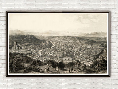 Old,Panoramic,of,Rome,City,Italy,1860,Vatican,Art,Reproduction,Open_Edition,Italia,gravure,engraving,art,Roma,antique,architecture_drawing,panoramic_view,rome_art,illustration,wall_decor