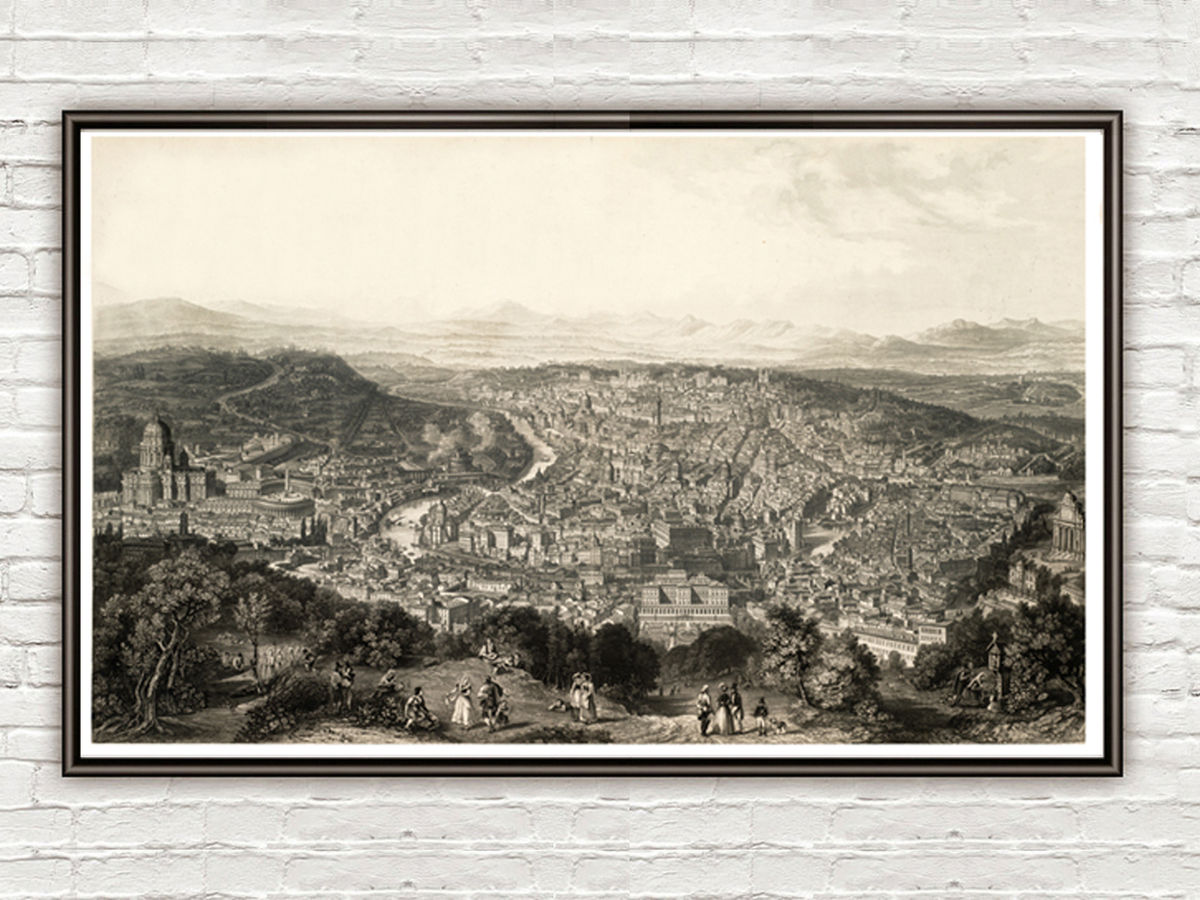 Old Panoramic of Rome City Italy 1860 Vatican Vintage Map - product images  of