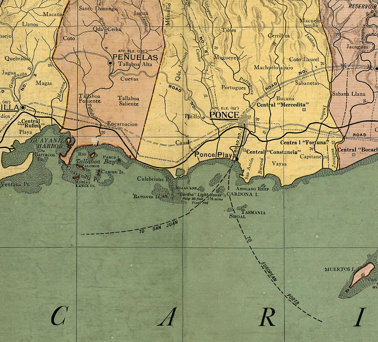 Old Map of Puerto Rico Island, 1915 - product image