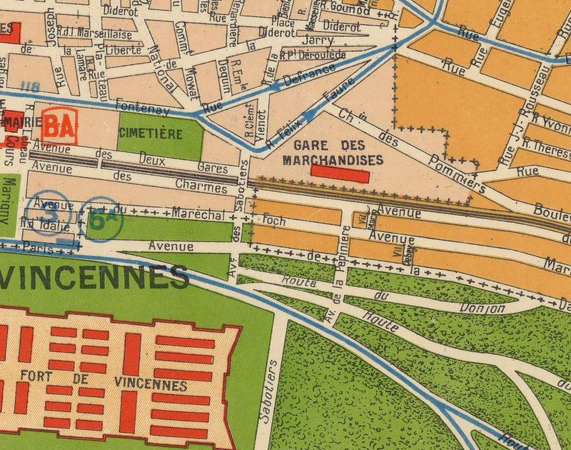 Old Map of Vincennes 1930 France  - product image