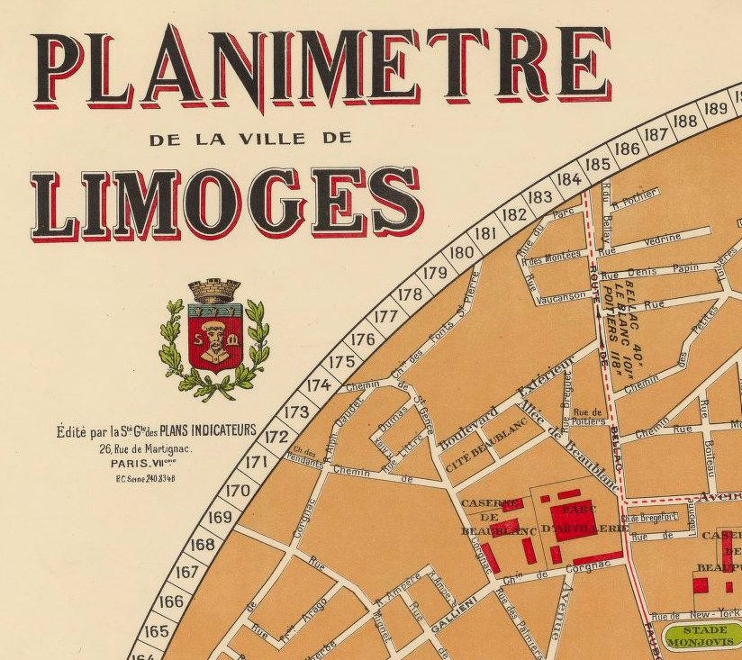 Old Map of Limoges 1931 France  - product images  of