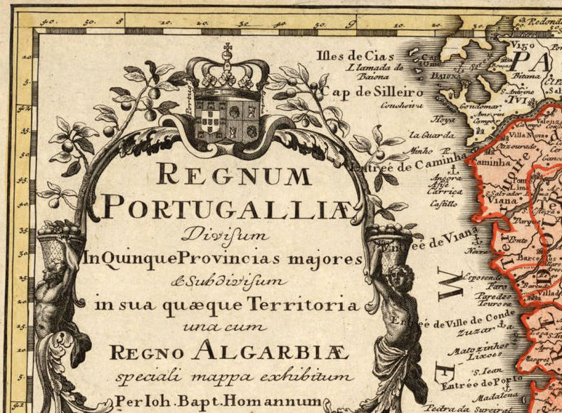 Old Map of Portugal 1736, Mapa de Portugal, Portuguese map - product image
