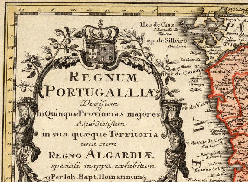 Old Map Of Portugal 1736 Mapa De Portugal Portuguese Map Vintage