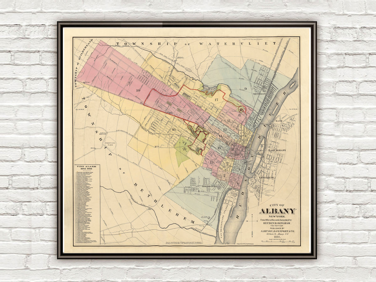 Old of Albany New York 1881 Vintage Map of Albany NY - product images  of
