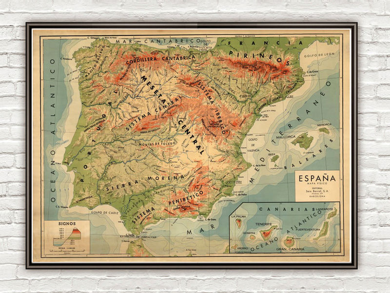 Old Map of Spain  - product image