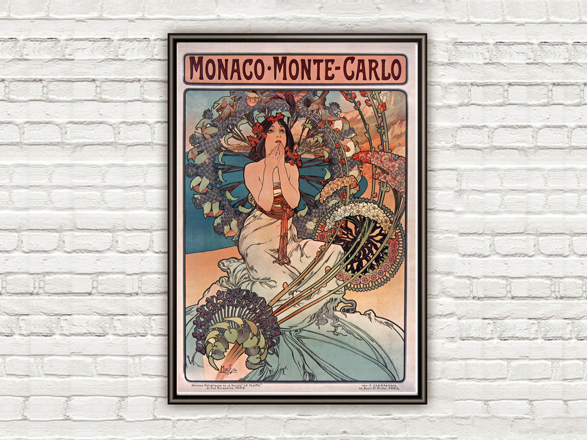 Vintage Poster of Monte Carlo Monaco 1897 Tourism poster travel - product images  of