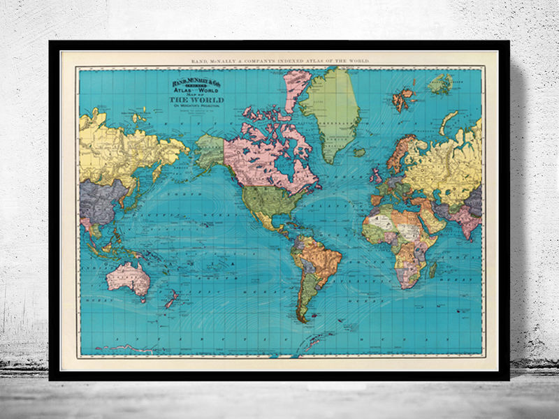 Old World Map Atlas Vintage World Map 1897 Mercator projection - product image