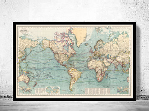 Great,Vintage,World,Map,in,1897,world map, map of the world, atlas of the world, world maps for sale, vintage map of the world