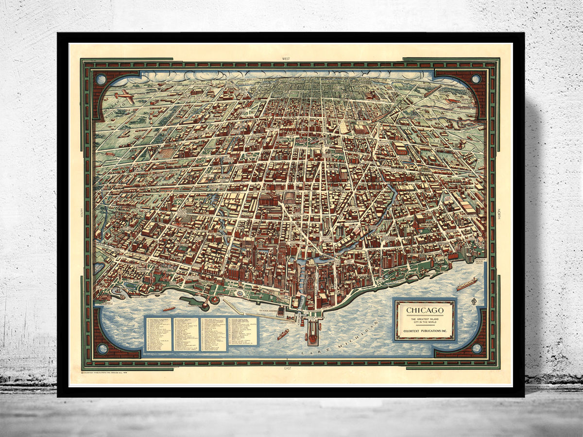 Old Panoramic View of Chicago Birdseye 1938 - product images  of