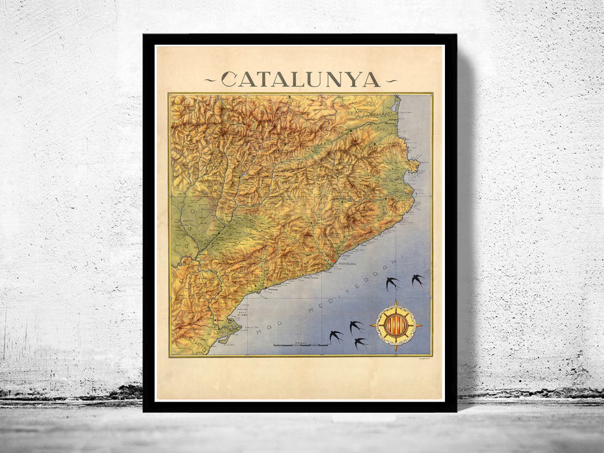 Old Map of Cataluña Catalunya 1940 Vintage Catalonia Map - product images  of