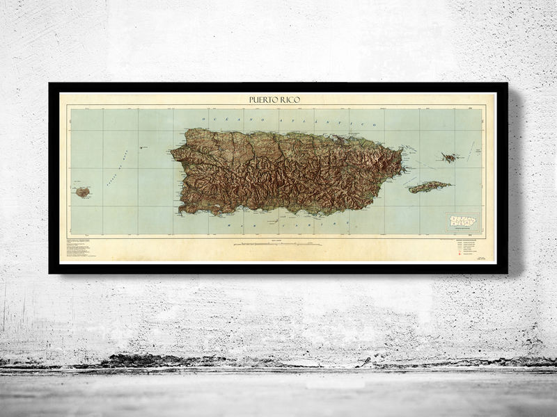 Old Map of Puerto Rico and adjacent islands - product image